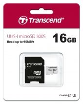 Карта памет Transcend UHS-I microSD 300S 16GB With Adapter