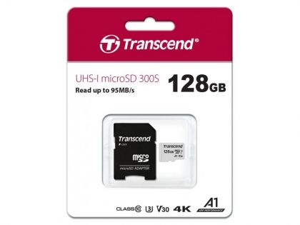 Карта памет Transcend UHS-I microSD 300S 128GB With Adapter