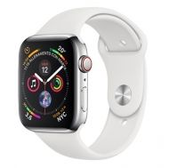 Apple Watch 4 44mm MTX02TY/A Stainless Steel Case White Sport Band