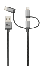 Кабел Trust 3 in 1 micro USB USB-C Lightning cable 480Mbps 1m