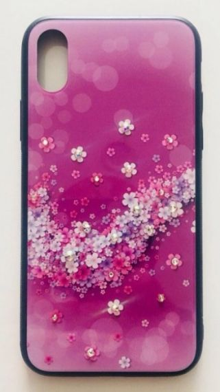 Калъф Glass case Iphone X цветя